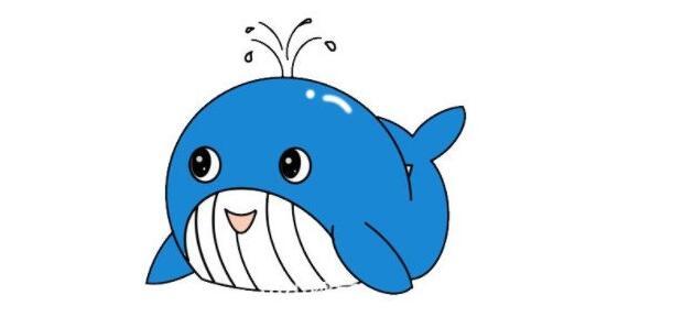 怎么画一个可爱的卡通鲸鱼